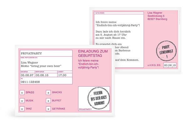 """einladung zum geburtstag """"party genehmigt"""", Einladung"""