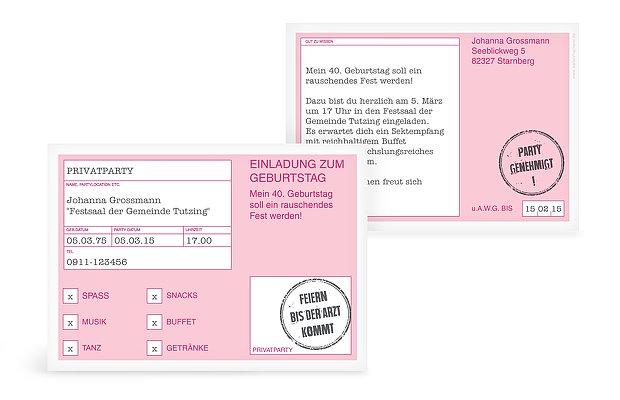 einladung zum 40. geburtstag: einladungskarten gestalten, Einladungen