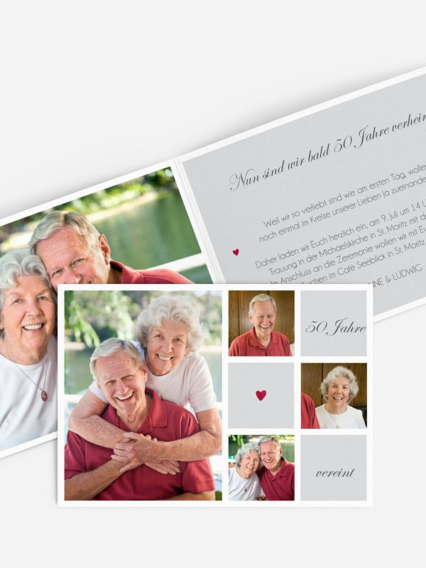 Einladung zur Goldenen Hochzeit Mit Herz