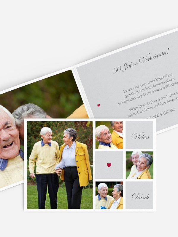 Danksagung zur Goldenen Hochzeit Mit Herz