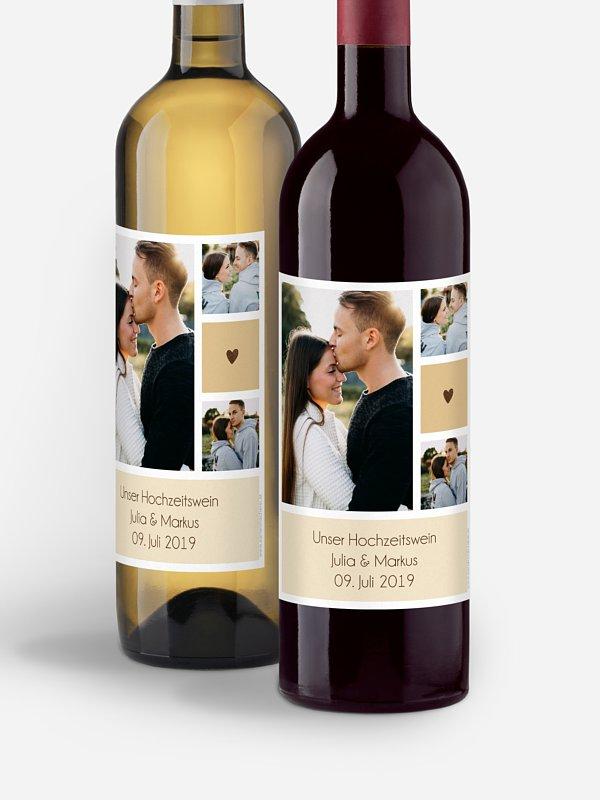 Flaschenetikett Hochzeit Mit Herz