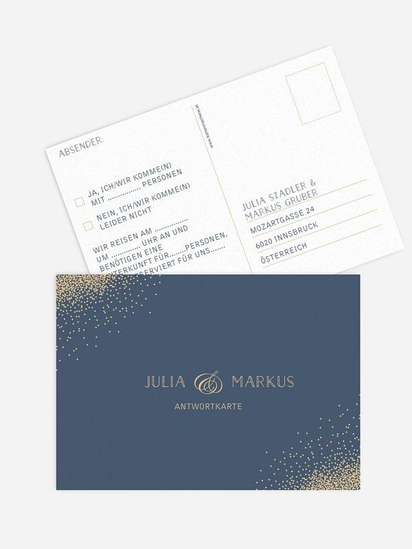 Antwortkarte Hochzeit Glanzvoll