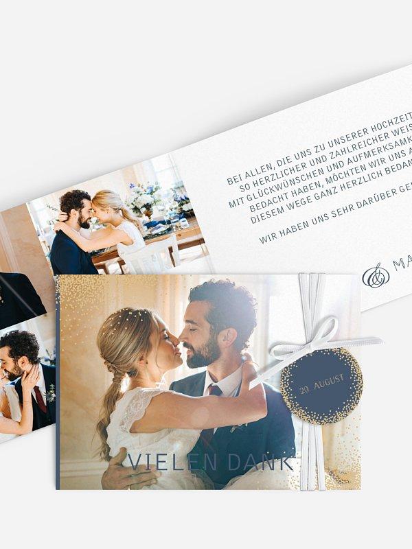 Dankeskarte Hochzeit Glanzvoll