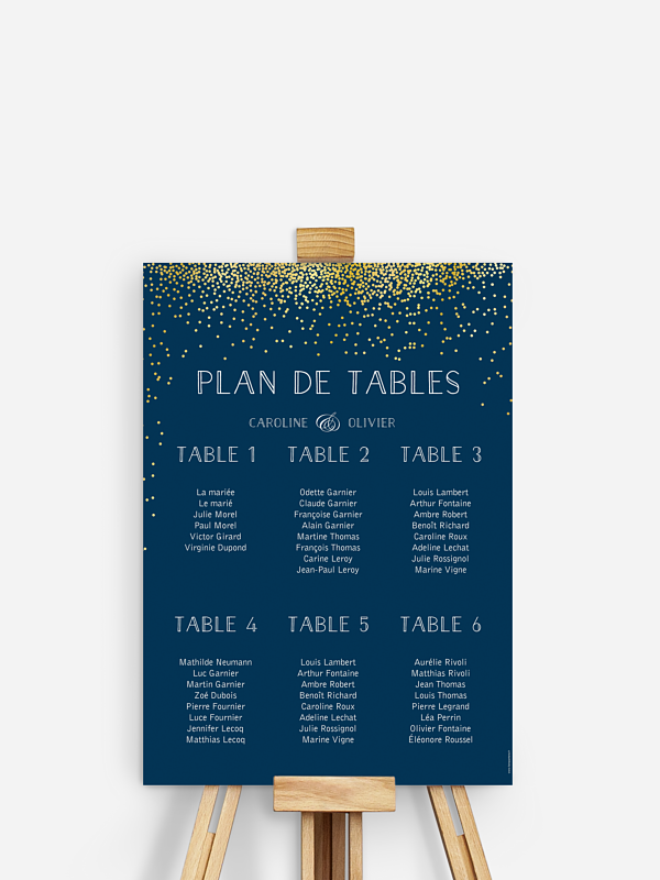 Poster plan de table mariage Scintillant avec dorure
