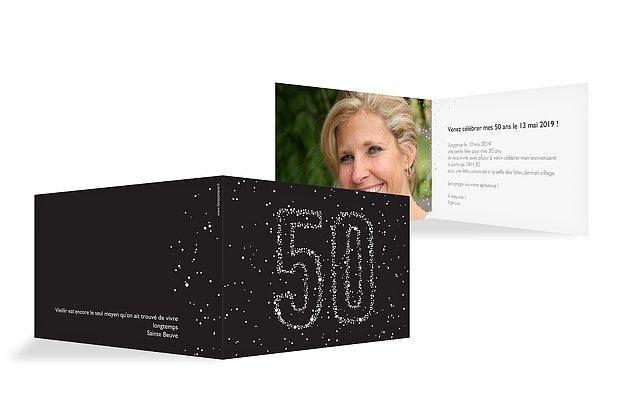 invitation anniversaire 50 Chiffre étoilé