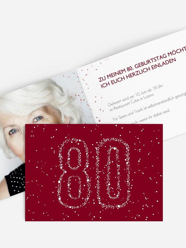 Einladung 80. Geburtstag Sternenzahl