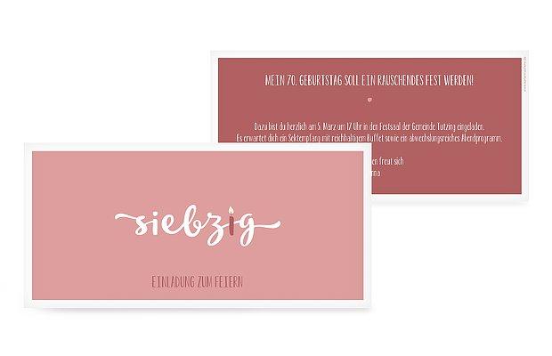 """einladungskarten 70. geburtstag """"kerzlich"""", Einladungsentwurf"""
