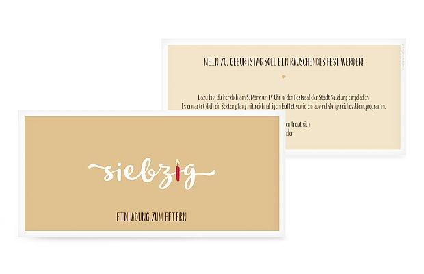 """Einladungen Zum 70 Geburtstag: Einladungskarten 70. Geburtstag """"Kerzlich"""""""
