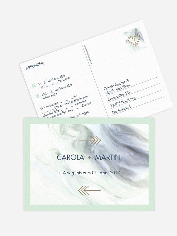 Antwortkarte Hochzeit Marble Heart