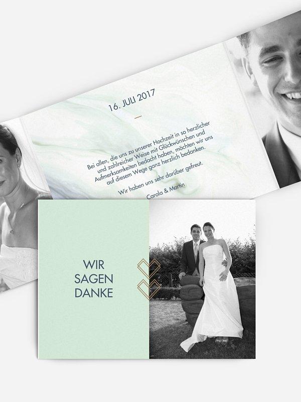 Dankeskarte Hochzeit Marble Heart