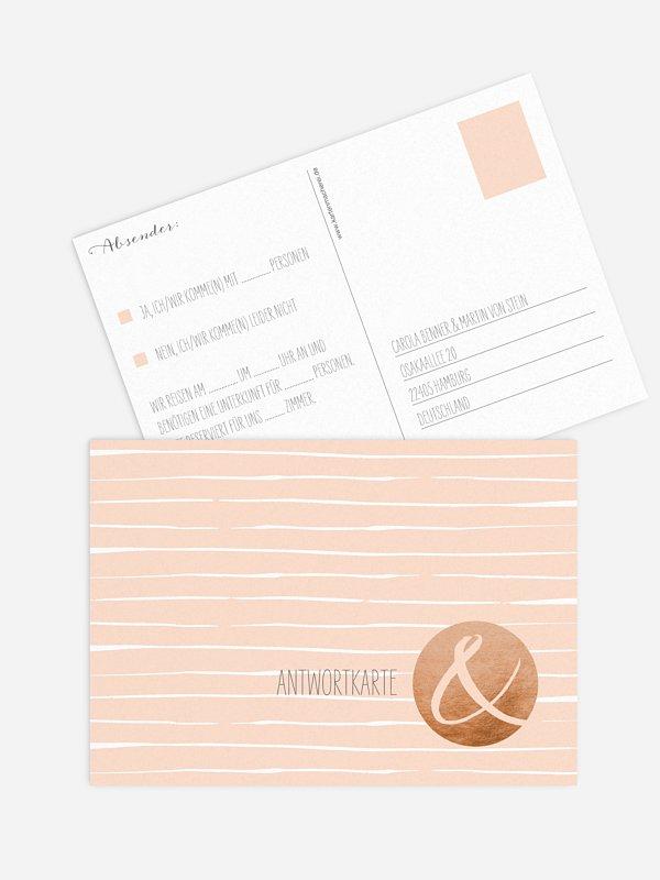 Antwortkarte Hochzeit Copper Art