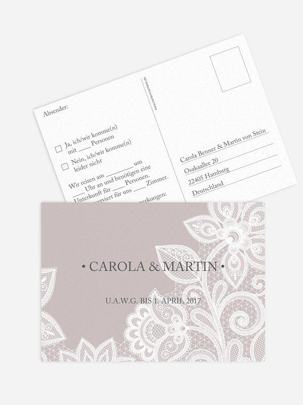 Antwortkarte Hochzeit Spitze