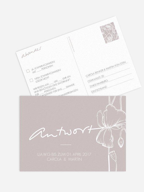 Antwortkarte Hochzeit Letter Poppy