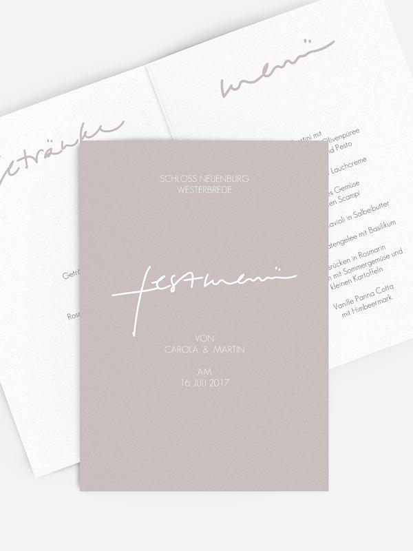 Menükarte Hochzeit Letter Poppy