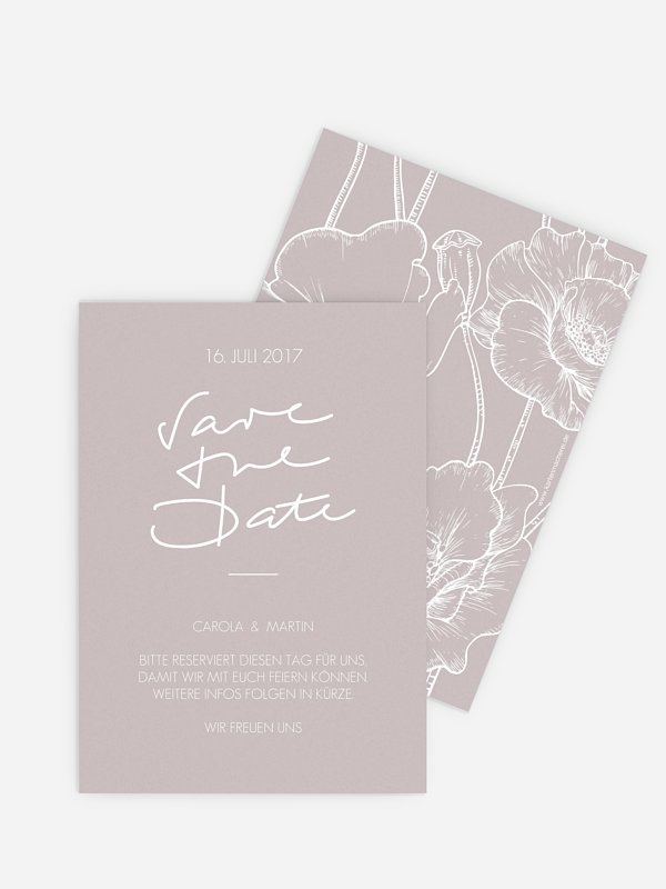 Save-the-Date Karte Letter Poppy