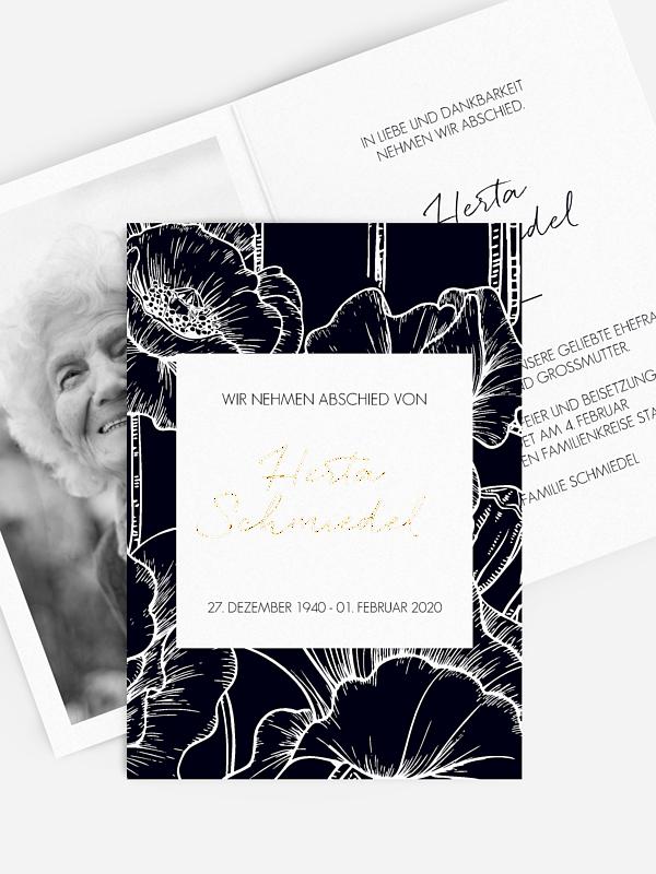 Trauerkarte Letter Poppy