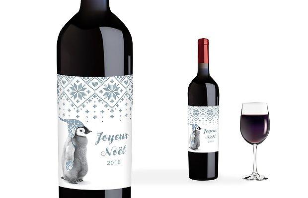 Étiquette pour bouteille Pingouin