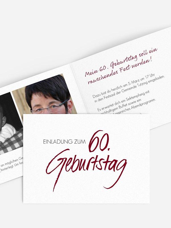 Einladung 60. Geburtstag Handgeschrieben