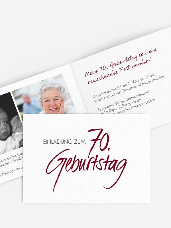 Einladung 70. Geburtstag Handgeschrieben