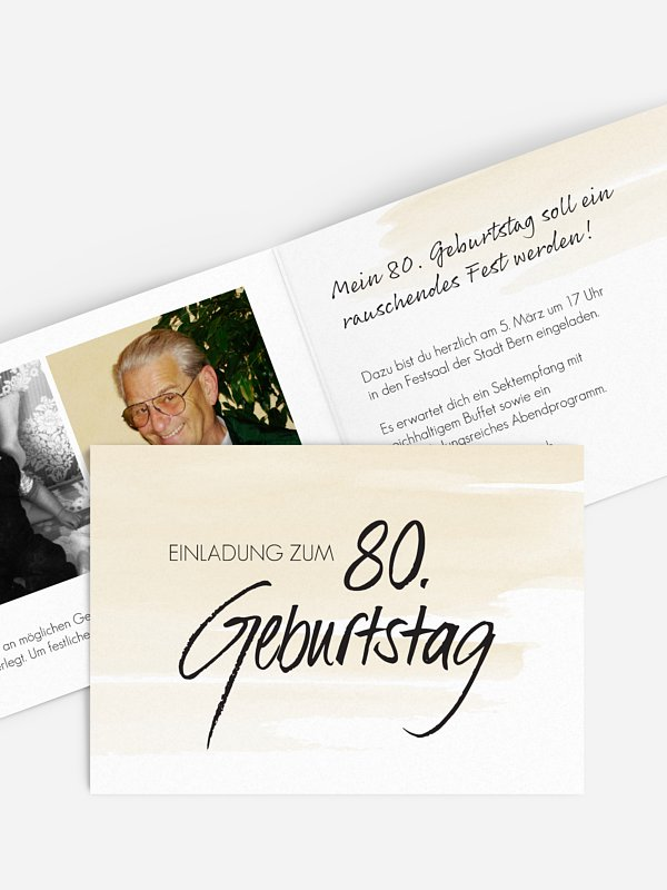 Einladung 80. Geburtstag Handgeschrieben