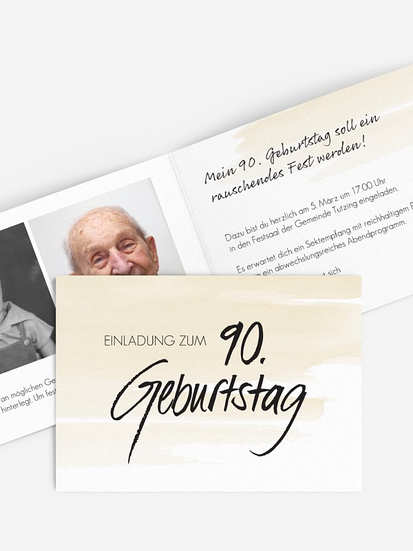 Einladung 90. Geburtstag Handgeschrieben