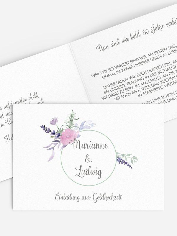 Einladung zur Goldenen Hochzeit Herbal Bouquet