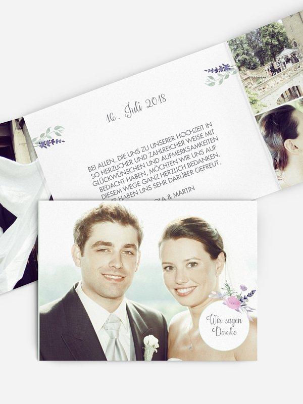 Dankeskarte Hochzeit Herbal Bouquet