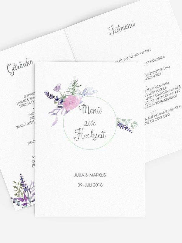 Menükarte Hochzeit Herbal Bouquet