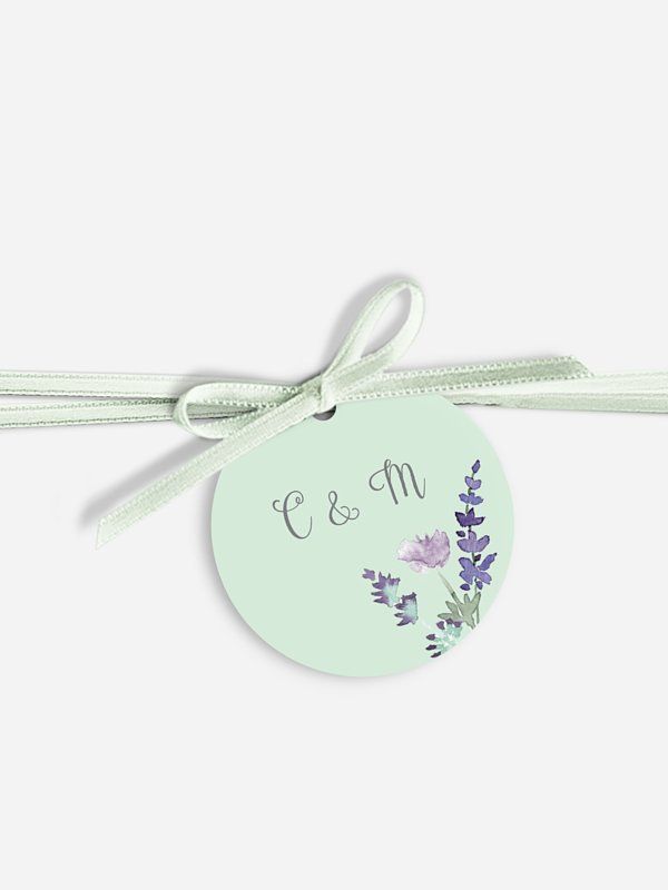 Étiquette avec ruban Bouquet de fleurs