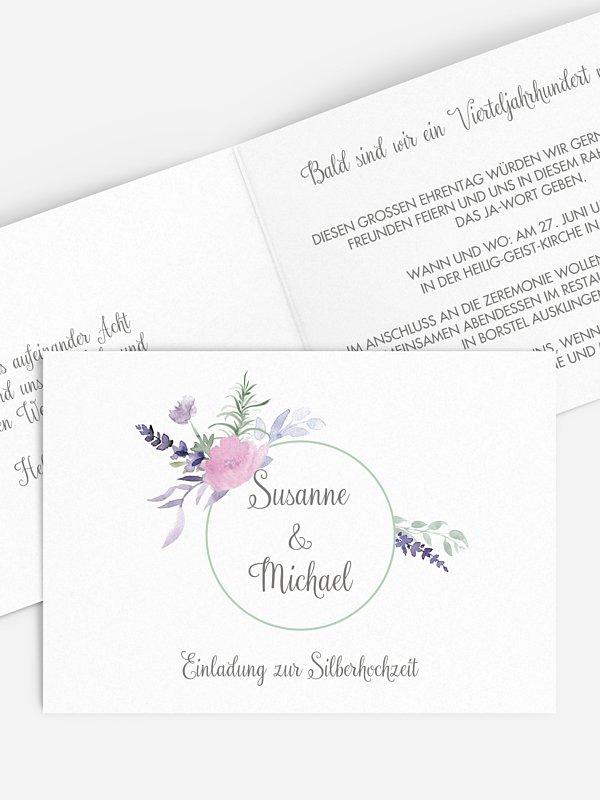 Einladung zur Silberhochzeit Herbal Bouquet