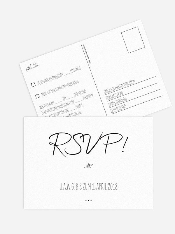 Antwortkarte Hochzeit Letter Pur