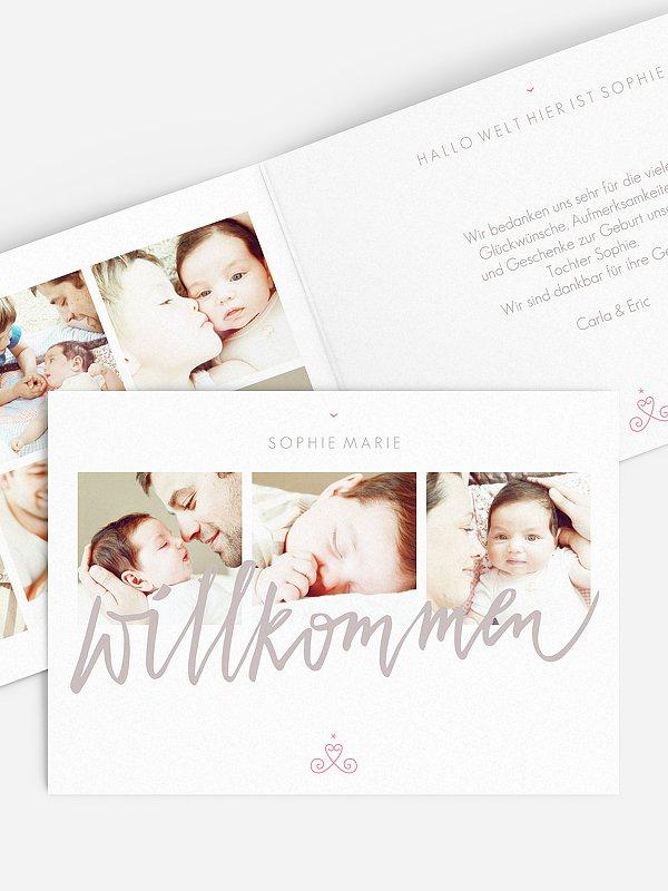 Geburtskarte Sweet Calligraphy