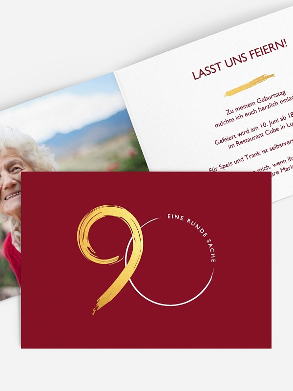 Einladung 90. Geburtstag Jetzt geht's rund