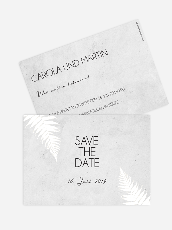 Save-the-Date Karte Industrial Art Premium