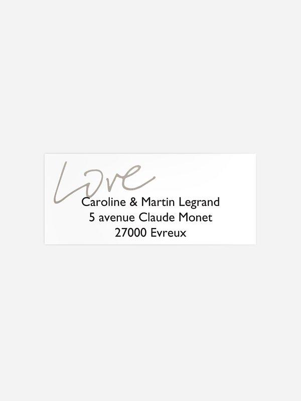 Étiquette expéditeur mariage Just Love Premium