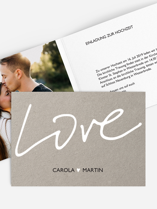 Hochzeitseinladung Just Love Premium
