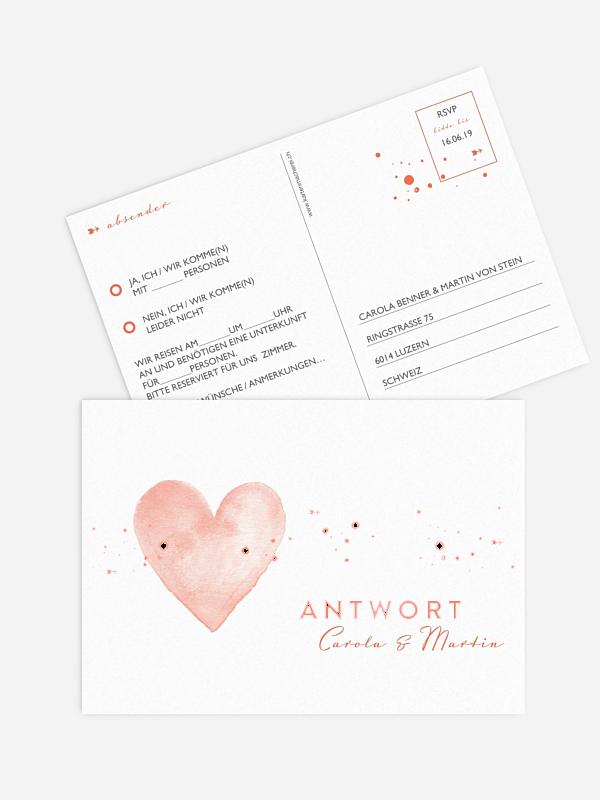 Antwortkarte Hochzeit Herzensmoment Premium