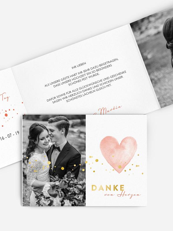 Dankeskarte Hochzeit Herzensmoment Premium
