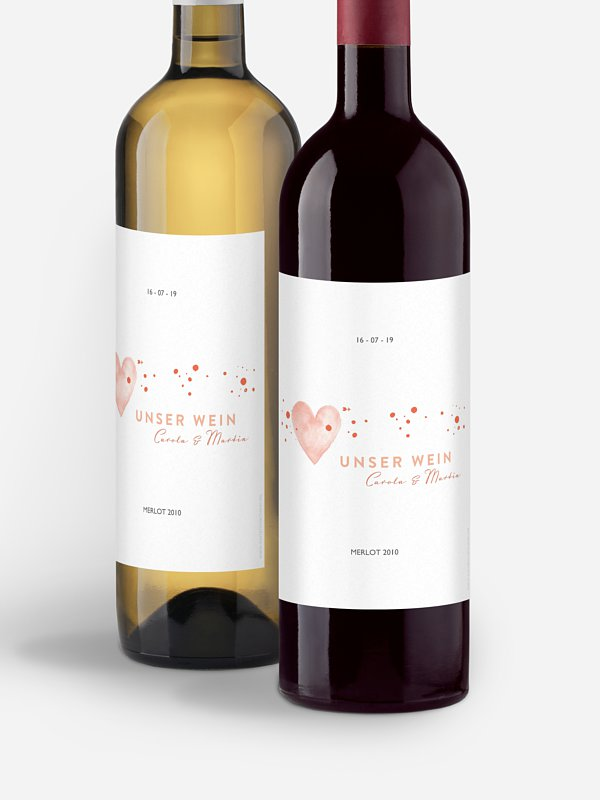 Flaschenetikett Hochzeit Herzensmoment Premium