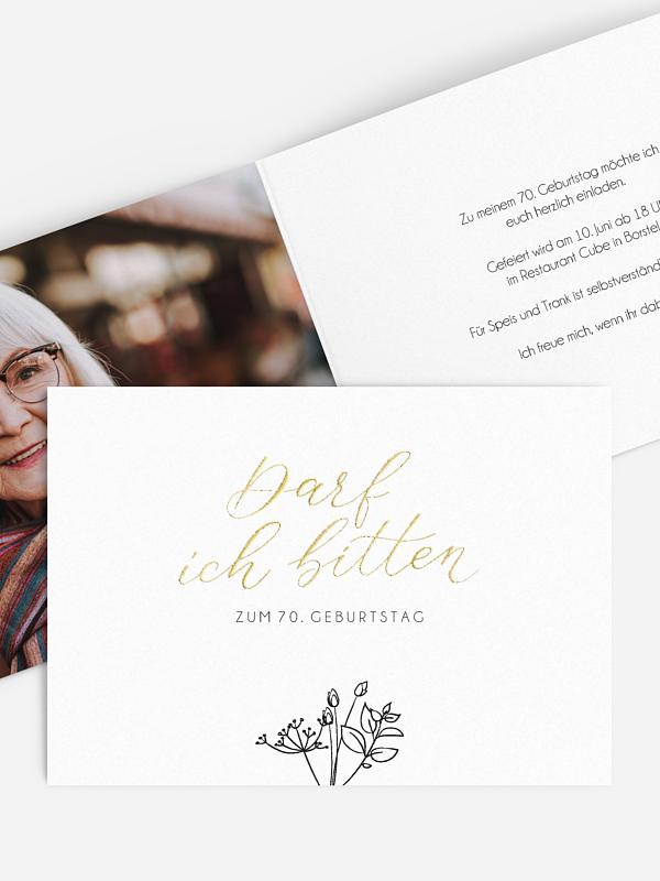 Einladung 70. Geburtstag Gentle Flowers