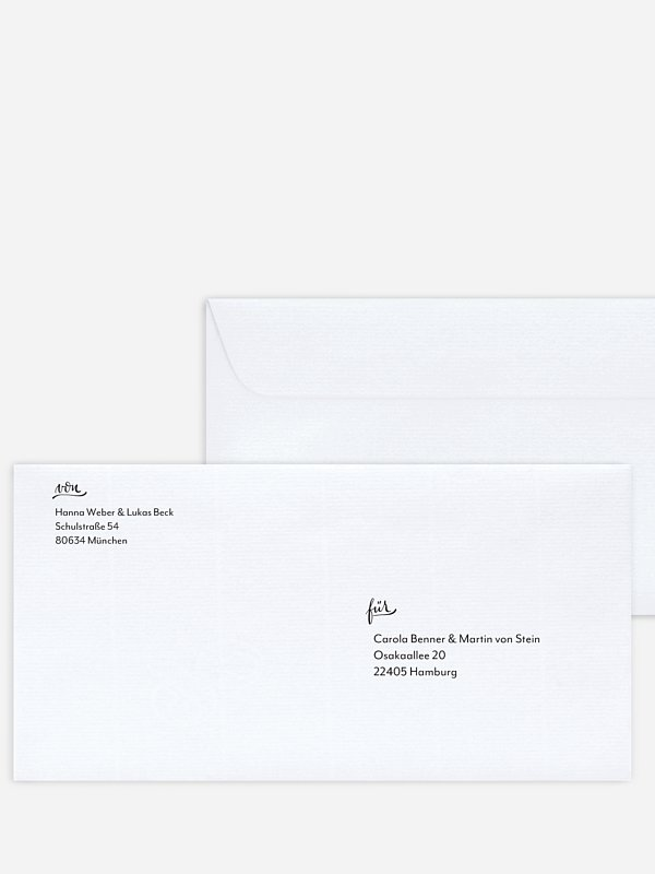 Bedruckter Briefumschlag Hochzeit Hand in Hand