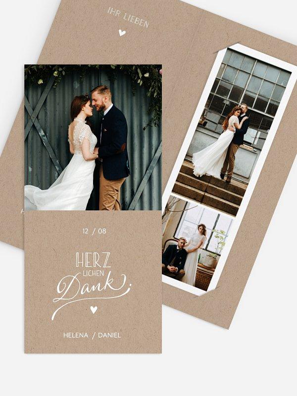 Dankeskarte Hochzeit Hand in Hand