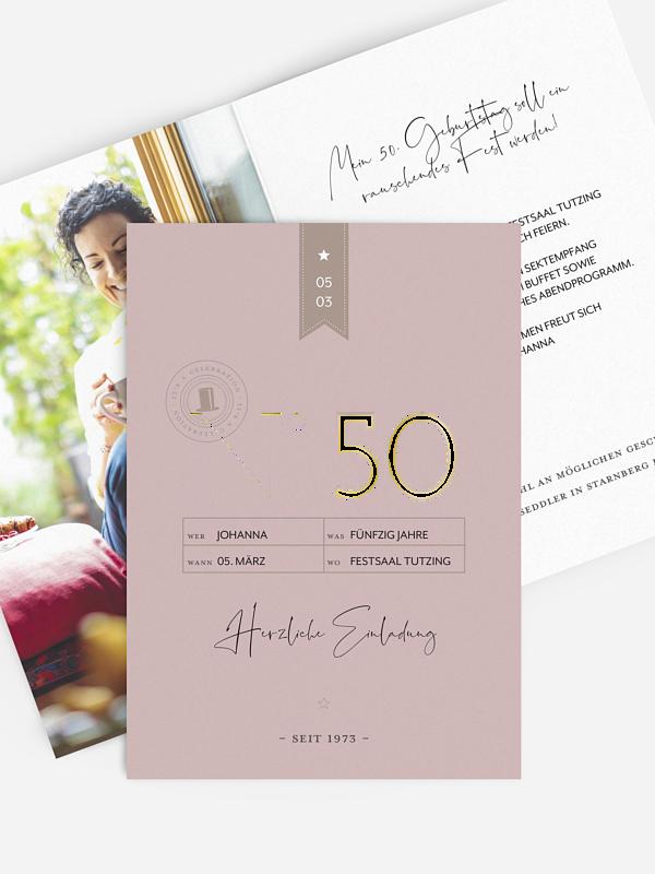 Einladung 50. Geburtstag Modern Flair