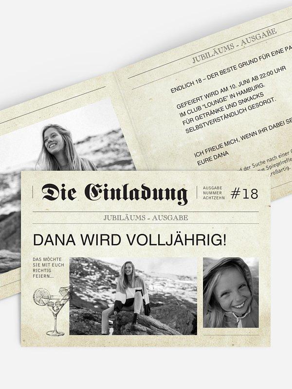 Einladung 18. Geburtstag Newspaper