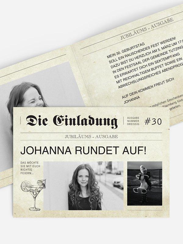 Einladung 30. Geburtstag Newspaper
