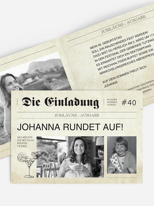 Einladung 40. Geburtstag Newspaper