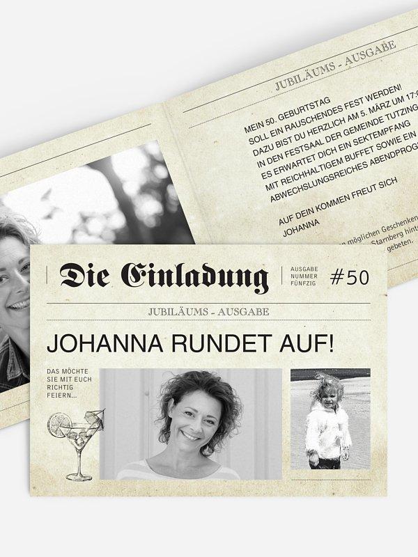 Einladung 50. Geburtstag Newspaper