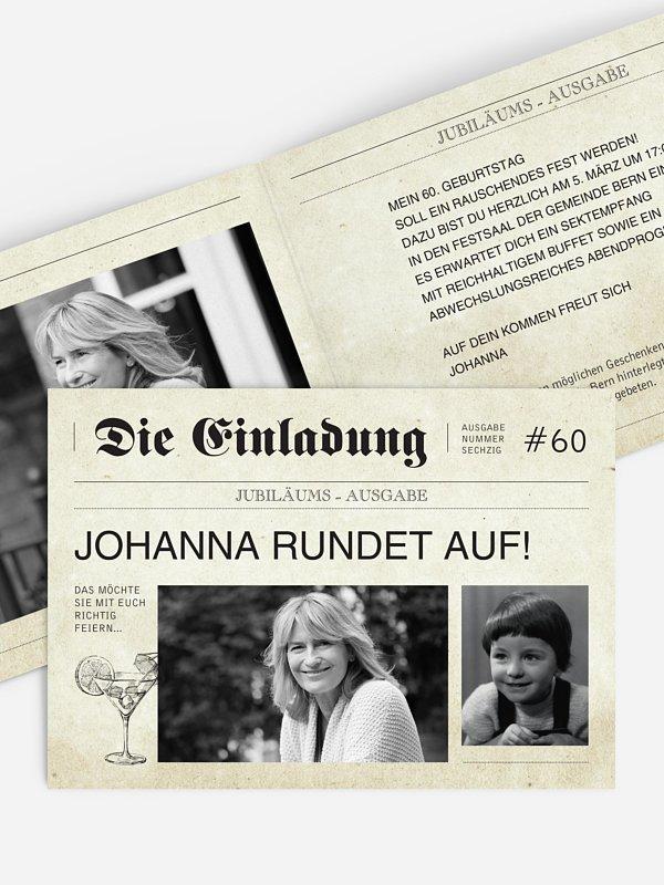 Einladung 60. Geburtstag Newspaper