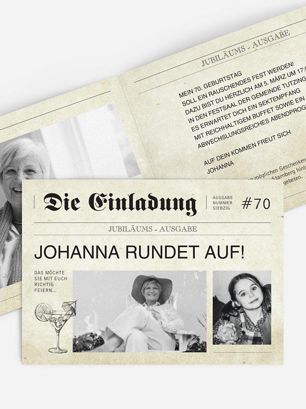 Einladung 70. Geburtstag Newspaper