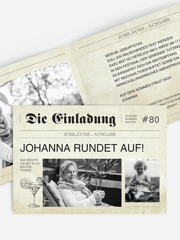 Einladung 80. Geburtstag Newspaper